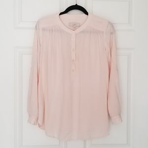 LOFT Button Front Popover Blouse- Roll Tab Sleeves